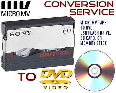 Sony MicroMV tape convert transfer copy to DVD, USB, SD card!