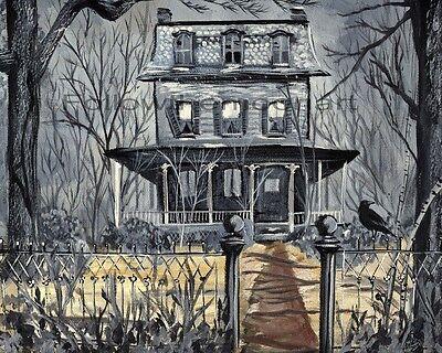Scary Spooky Crow Gray Victorian Haunted House Halloween Night Wall Art Print - Halloween Wall Art