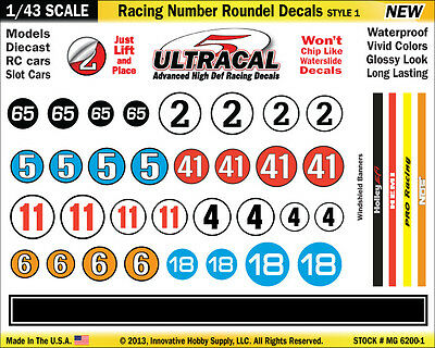 MG6200-1 - 1/43 Scale UltraCal High Def Racing Number Roundel Decals Style 1