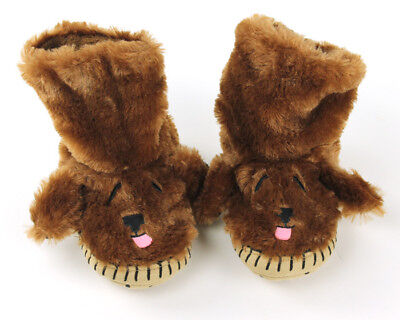 Kids Dog Slouch Slippers - fits Toddler's sizes 8 thru 10 - Brown Baby Booties](Slouch Slippers)