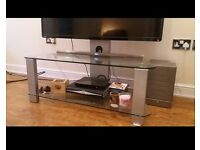 Glass swivel tv stand