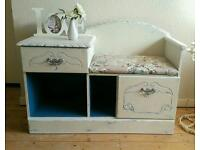 Upcycled Shabby Chic Furniture Annie Sloan Telephone Seat Hall Table Kitchen Dresser Corner Unit