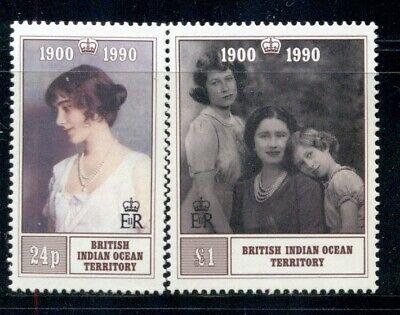 BRITISH INDIAN OCEAN TERRITORY 106-07 SG106-07 MH 1990 Queen Mother set 2 Cat$18