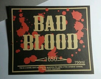 BAD BLOOD SPLATTER MED MD MEDIUM 4x5 HALLOWEEN WINE POP BOTTLE LABEL  STICKER - Blood Label Halloween