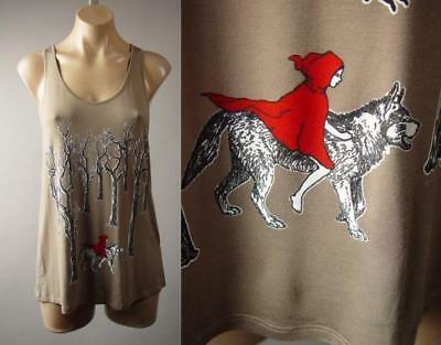 Little Red Riding Hood Wolf Goth Fairy Tale Graphic Tank Top 249 mv Shirt S M - Goth Red Riding Hood