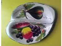 Stunning Hand Painted Italian Serving Dish Mint Condition