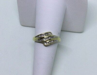 Diamond Ring Three Rows Baguettes Rounds Bypass 10 Karat Yellow Gold Size - Baguettes Bypass