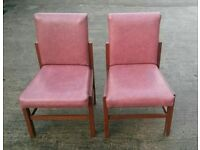 Pair of faux leather dining living room chairs burgundy red colour 2