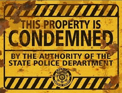 Property Condemned Sign - Halloween Decor Prop Road and Lawn Decoration