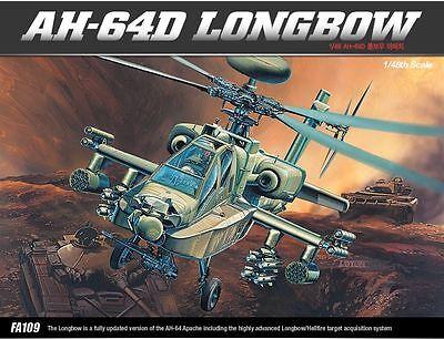 Academy 1/48 AH-64D LONGBOW Helicopter Plastic Model Kit Cartograf Aero 12268