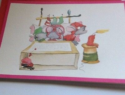 Vintage Christmas Card Mice In Matchbox Bed Norcross Unused+env