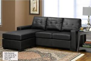 ***BLOWOUT SALE****LEATHER SECTIONAL WITH REVERSIBLE CHAISE (BLACK)**LOWEST PRICES