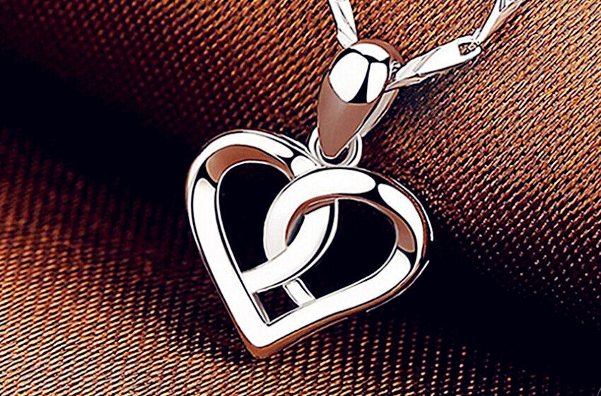 Jewellery - Swirl Heart Pendant 925 Sterling Silver Chain Necklace Womens Jewellery Gift UK