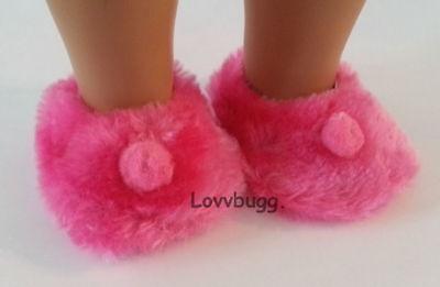 Hot Pink Fuzzy Slippers (Hot Pink Fuzzy Slippers for American Girl 18