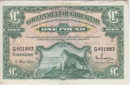 GIBRALTAR BANKNOTE P18a-1883, I POUND 1965, GRAFITTI,  VF