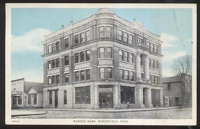 Postcard Wooodfield Ohio Oh  Monroe Bank   Business Storefronts View 1910S