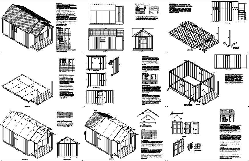 20 39 x 12 39 guest house garden porch shed plans p72012 for Shed plans and material list free