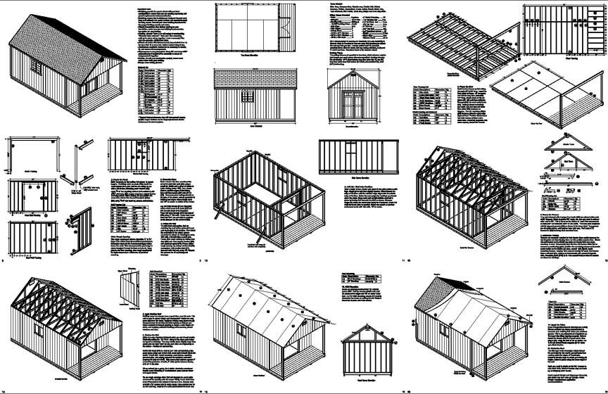 20 x 12 cabin guest house building covered porch shed plans