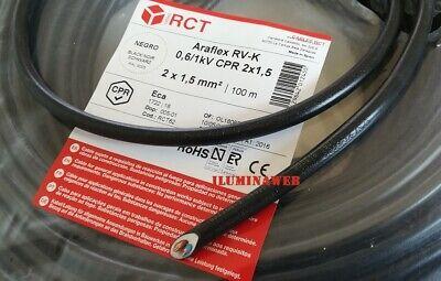 Corte x 10 Metro Manguera negra flexible 2x1.5mm2 CABLE electrico 2500w RV-K...
