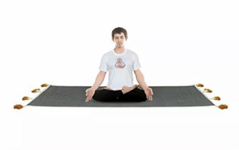Boho yoga meditation mat, grey with tassles, new