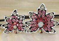 Pink 2 tree leaf swarovski crystal hair headband---NEW!!