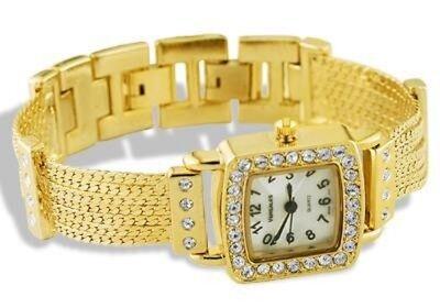 Ladies Gold Tone Stainless Steel CZ Bracelet Link -