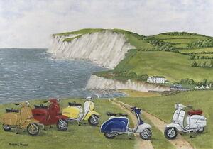 The Italian Job - Visits Isle of Wight - Scooter, Vespa, Lambretta Print