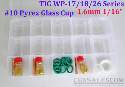 28 Pcs Tig Welding Stubby Gas Lens 10 Pyrex Cup Kit Wp-171826 Torch 116