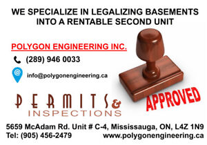 Legal Basement Building Permit-Brampton/Mississauga