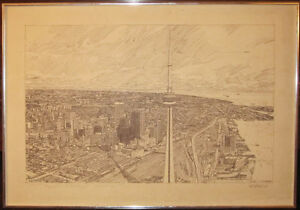 Framed Pen And Ink Print Of Toronto's CN Tower By Tom McNelley