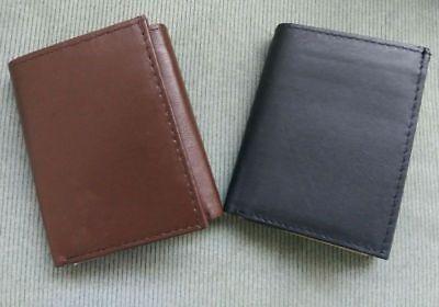 Mens RFID Blocking GENUINE LEATHER Black Brown Tri-fold Credit Card ID Wallet (Credit Card Tri Fold)