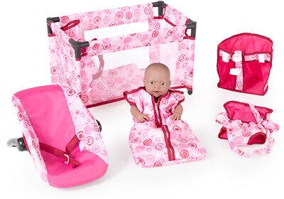 5-tlg. Puppenzubehör Set Lovely Circles Schlafsack Autositz Tragegurt Puppe NEU
