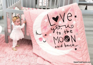 MOON AND STARS BABY GIRLS Crib BEDDING Set 100% COTTON LIMITED EDITION