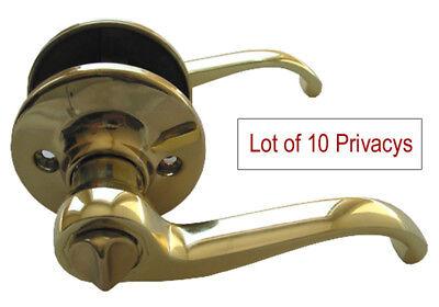 (Lot of 10 Polished Brass Privacy Lever Handle Door Locks for Bedroom or Bathroom)