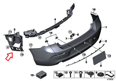 BMW 1' Series F20 F21 LCI Rear Bumper Side Bracket - Right