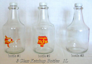 3 Ketchup bottles, 1L, clear glass, reuse/collect, $15 each