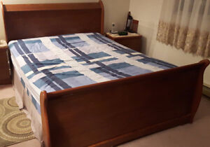 Queen Bed with Wooden Bed Frame