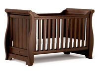Boori sleigh cot bed in walnut