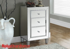 ALL GLASS MIRRORED NIGHT TABLE WITH 3 DRAWERS - MELANIE
