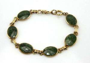 24k gold filled oval moss agate chain link pendant bracelet