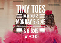 TINY TOES DANCE CLASSES - ages 3-6 - now registering!