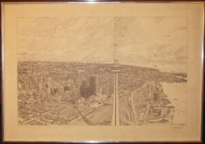 1976 Pen And Ink Picture Of Toronto's CN Tower By Tom McNelley