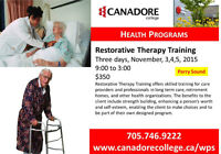 Canadore College, Parry Sound - Restorative Therapy Training