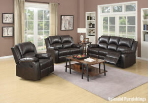 """New Year Sale"" BEAUTIFUL, BROWN LEATHER AIRE RECLINER SET"