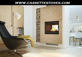 DOUBLE SIDED BOILER STOVE !!! FREE DELIVERY cassette inset modern side multi fuel wood burner