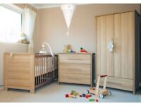 Baby style 'oakland' nursery set. Cot bed, Drawers with changer, wardrobe.