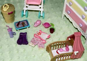 Ensemble Barbie Bébé Meuble Poussette Accessoire Lit Neuf LOT