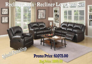 Brand new !! BEAUTIFUL, BROWN LEATHER AIRE RECLINER SET