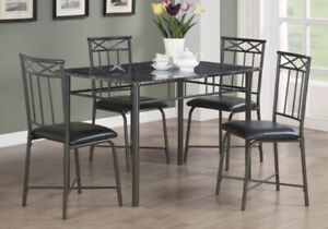 Brand new 5 Pc Dinette set Marble top Charcoal metal $298 only!