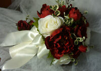 "Popular Burgundy / Maroon ""Wedding Bouquet Flower Set."""
